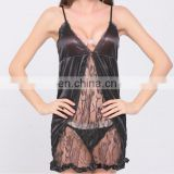 women black Lace deep v see through Baby doll Sexy Lingerie sleepwear