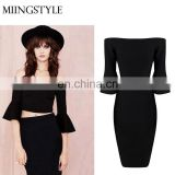 Wholesale high quality rayon fashion celebrity dresses two pieces set evening dress bandage dress