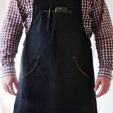 waterproof denim fabric apron with leather and pockets