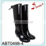 Direct factory woman wedge heel zipper knee high rain boots with ribbon