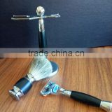 Metal+wood black handle men badger shaving brush set