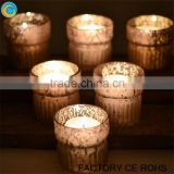 Latest mercury glass votive holder champagne / hand blown glass jars / candelabra with glass cups