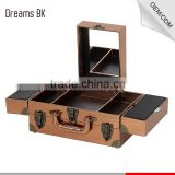 Professional classic golden pvc leather portable rolling makeup vanity case with mirror