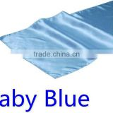hot selling ployester satin table runner for wedding decoration, baby blue color