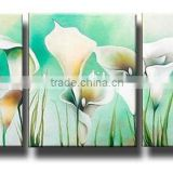 Simple and Beautiful Light Green Triptyches Calla Lily Oil Painting on Canvas for Living Room Decoration
