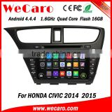 "Wecaro android 4.4.4 car dvd player China Factory 8"" car multimedia system for honda civic mirror link 2014 2015"