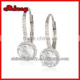 Sterling Silver Diamond and Aquamarine Leverback Earrings