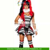Women's Halloween Adult Harlequin Jester Fancy Dress Honey Clown Costume Ladies                                                                         Quality Choice
