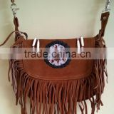 2015 Fashion stylish Real-Handmade-Western-Style-Suede-Leather-Beaded-Ladies-Shoulder-Bag-Fringed Chocolate Brown color