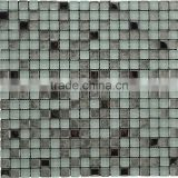 Whit color crystal mix silver foil Glass stainless mix marble mosaic tile glass mix stone mosaic tile