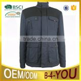 Stand collar padded outdoor black jacket ,Jackets With Multi Pockets Splice jacket padded jacket