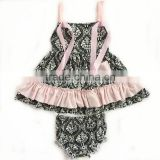 2015 baby girl swing top set leopard printed top set with bloomer for kids