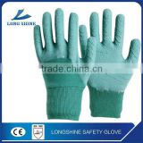 Best selling cotton liner with wrinkle Latex 3/4 coated safety working glove