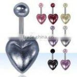 Faux pearl heart shaped navel