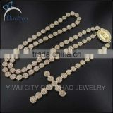 hot sale 16k gold bling bling mens hip hop rosary necklace                                                                         Quality Choice