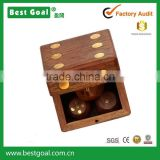 "2.4"" Wooden Square Dice Box Storage Case Container with 5 Dice Cute Dice Game"