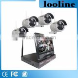 Looline Cable Free Outdoor Waterproof IP66 Security Camera Systems Kits 4Chs NVR Recorder Wireless Camera System 12V