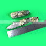 Mini Damascus Pocket Knife with Natural Abalone Shell