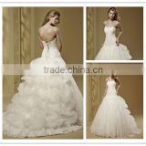 Boutique 2016 Strapless Boat Neckline Wedding Dress DM-023 vestidos-novia lace bridal wedding dress