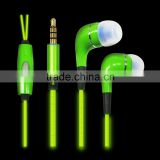 El glowing cable earphone for smart earphone shenzhen factory