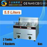 2014 New Product 1 Tank 1 Basket Gas Fryer 5.5 Liters deep fryer gas for sale (SY-TF5A-1 SUNRRY)