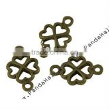 Antique Bronze Brass Clover Connectors(KK-P4893-AB)
