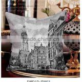 retro building design European stlye jacquare cushion cover car decorative pillow