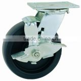 44 Series Double Ball Raceway Structure Top Plate Swivel Black PP Caster with Side Brake