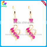 Ruby Gemstone Platinum Plating Silver Eardrop Ear Plug 925 Sterling Silver Hoop Gold Earring