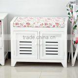 New item white wooden shoe rack seat cushion storage shoe bench                                                                         Quality Choice