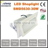 euleep SMD5630/5730 30W squaredownlight, retangle downlight, led shoplight witch frosted glass/pc anti-dazzle light