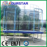 2015 hot sale Fourstar outdoor square bungee trampoline has safety net with low price and high quatity