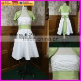 IS-R25 Short white and green organza short dresses for party