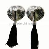 Silver Color Heart Fringe Silicone Nipple Cover