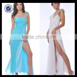 New Design Wholesale Custom Made Long Sexy One-shoulder Beaded Sky Blue Chiffon Split Leg Cocktail Dress C0069