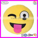 F116 Emoji Smiley Emoticon Yellow Round Cushion Pillow Stuffed Plush Soft Toy Cute Plush Emoji Pillows