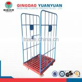 4 wheels 2 sided roll cage trolley logistics pallet wheel barrow storage metal waste container