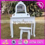 2017 New design youth bedroom white solid wooden dressing table chair W08H072