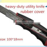 18*100mm snap-off steel blade heavy-duty rubber cover utility knife