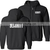 Security Silkscreen Front & Back Black Full Zip Hoodie, Ring-Spun Cotton Jersey Hooded Security Guard Uniform With Ribbed Cuffs