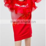 newest Crew neck Printed front Ruffle tulle detailing Keyhole back Red Future Print Sweat Dress