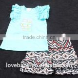 100% real life picture blue bunny top with short floral ruffle pants 2pcs Easter Day Clothing set LBYTZ001-107
