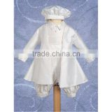 New fashion boys baptism gown set, infant long sleeve suit christening clothing