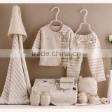 9 in 1 Set 100% Organic Cotton Baby Infant Clothing Set OEM Wholesale Newborn Baby Shower Gift