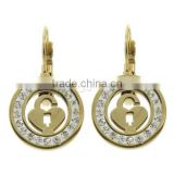 1055800 Stainless Steel Lever Back Earring with Rhinestone Clay Pave gold color plated wholesale color stones earrings