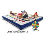 popular kids outdoor Inflatable track for twister game,color dot game for adults