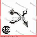 G23 Solid Titanium Curved Barbell eyebrow ring piercing body jewelry with Spikes