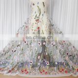 HOT SELL fashion flower colorful textile embroidery lace fabric,net embroidery lace fabric