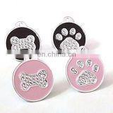 Custom metal pet ID name tags with crystal