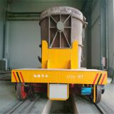 50 ton motorized driven electric rail flatbed ladle transfer car equipped hydraulic lifting equipment